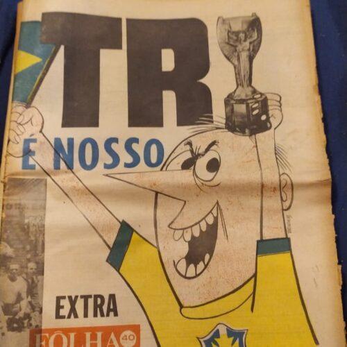 Jornal Folha da Manhã Brasil tricampeão mundial 1970