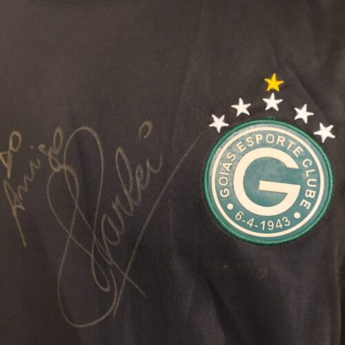 Camisa Goiás Topper 2004 Harlei autografada goleiro mangas longas