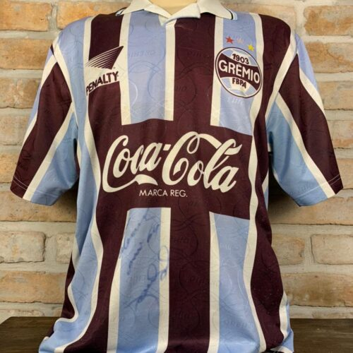Camisa Grêmio Penalty 1995 Goiano autografada