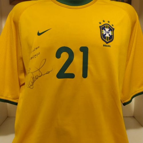Camisa Brasil Nike 2000 Ewerthon autografada