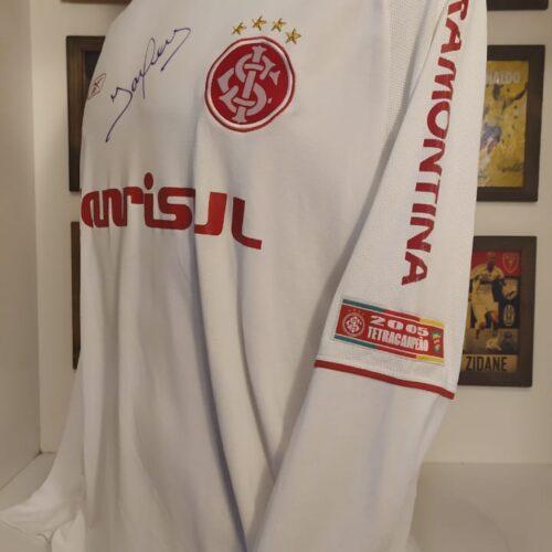 Camisa Internacional Reebok 2006 Iarley Libertadores da América autografada mangas longas
