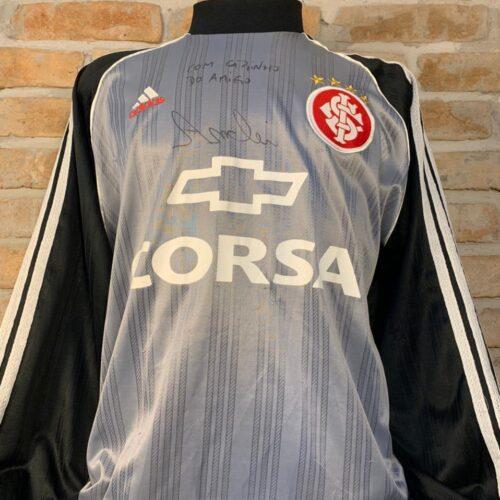 Camisa Internacional Adidas 1998 André goleiro mangas longas autografada